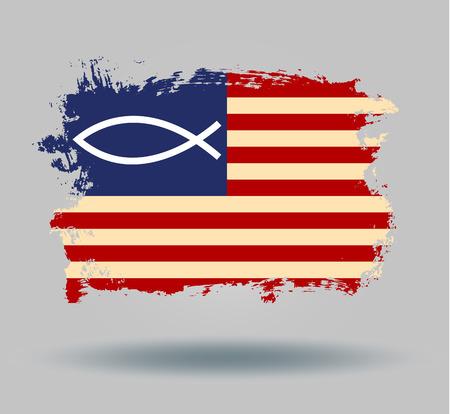 illustrated globes: flag usa fish