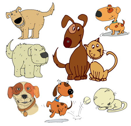 afghan hound: cartoon of funny different dogs set Illustration
