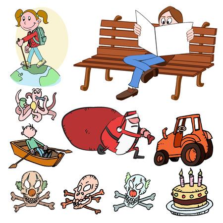 vector skull danger sign: cartoon set Illustration