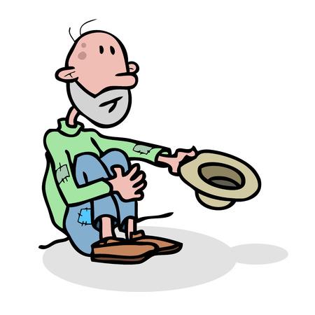 needy: Beggar homeless alone with hat.