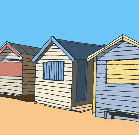 beach huts: Beach huts Illustration