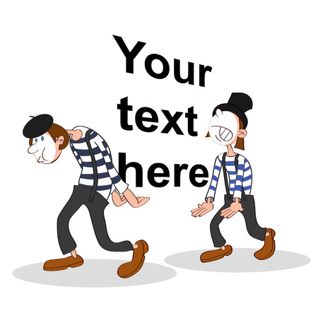 two mimes holding a big imaginary text Illustration