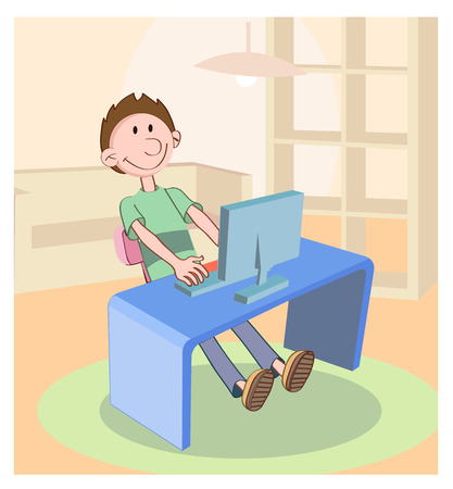 computer desk: boy seated in chair working at computer desk