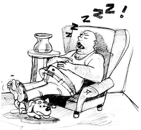 sedentary: Couch potato cartoon Illustration