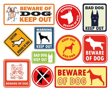 beware dog: Beware of dog vector set
