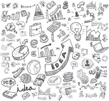 business meeting computer: business doodles set