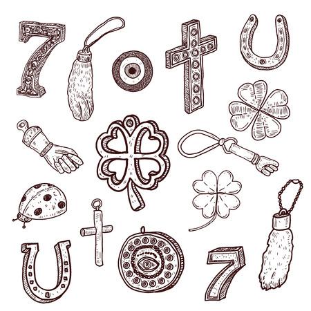 icons Talisman Amulett und Charme Vektorgrafik
