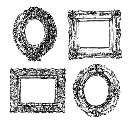 antique frames: Set of picture frames.