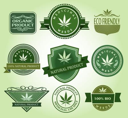 hallucinogen: Set of Medical  medicinal marijuana labels.