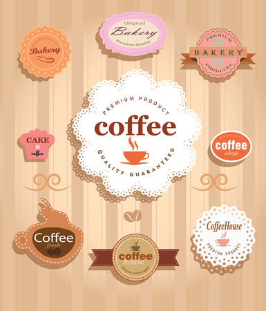 cofe: Vector coffee time stamps set