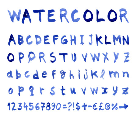 watercolor technique: Font Watercolor technique. Vector illustration.