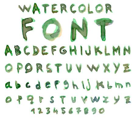 watercolor technique: Font Watercolor technique. Vector illustration.