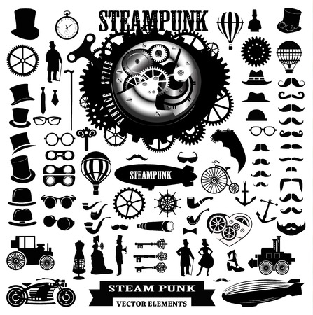 Steampunk elements. Vector icons