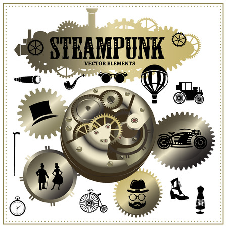 stovepipe hat: Steampunk elements. Vector icons