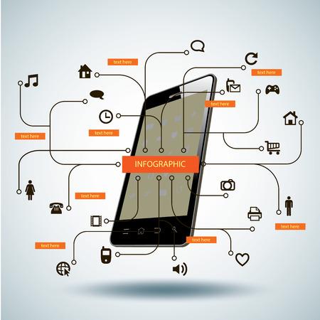 mobile internet: Multimedia illustration Graph Design,