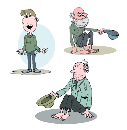 defenseless: Beggar homeless alone with hat.