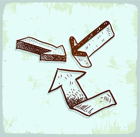 upward movements: Cartoon sign arrow illustration Illustration