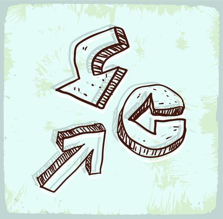 different ways: Cartoon sign arrow illustration Illustration