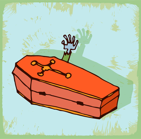 flying coffin: halloween cartoon coffin