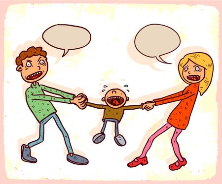 custody: Cartoon custody illustration Illustration
