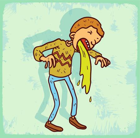 throw up: Cartoon throw up illustration Illustration