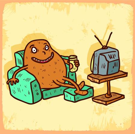 couch potato: Cartoon couch potato illustration