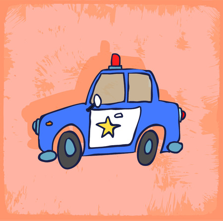 policia caricatura: Ilustración del coche policía de la historieta