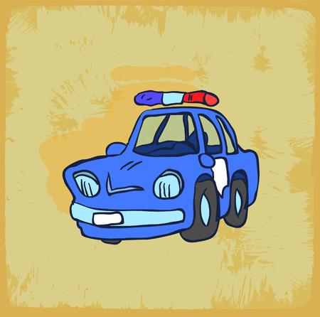 policia caricatura: Ilustraci�n del coche polic�a de la historieta