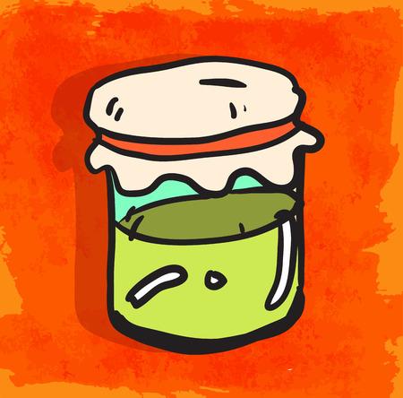 jelly: Cartoon jelly bottle illustration