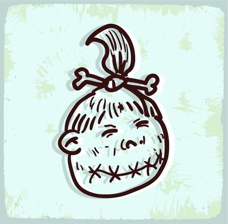 shrunken: Cartoon shrunken head illustration Illustration
