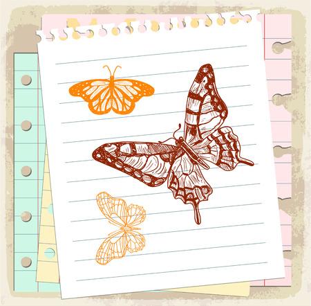 blank business card: cartoon butterfly
