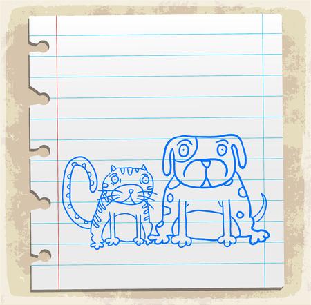 scribbling: cartoon dog nad cat illustration