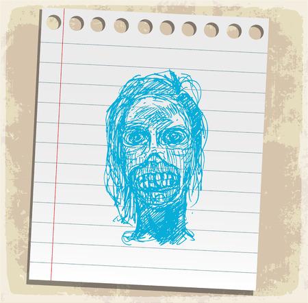 scribbling: halloween cartoon zombi