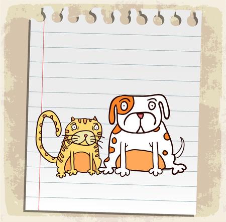 animal frame: cartoon dog and cat illustration