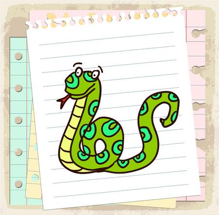 spiral binding: cartoon snake illustration
