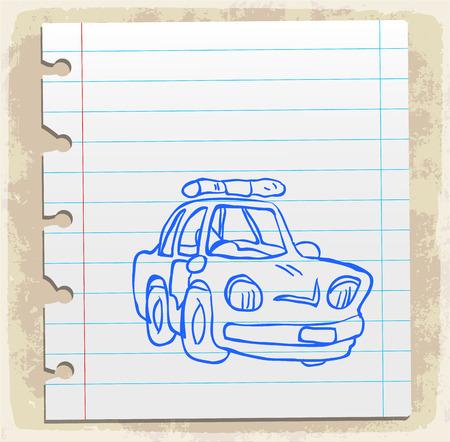 spiral binding: Cartoon police car, illustration