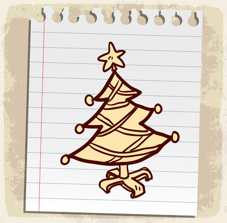 spiral binding: Cartoon christmas tree illustration Illustration