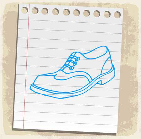 note paper: Cartoon shoes illustration, paper sheet note
