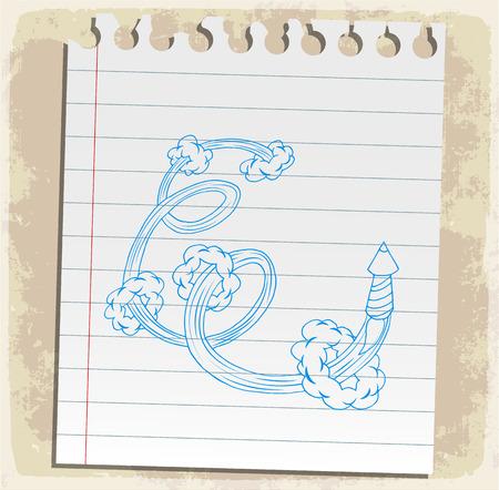 scribbling: Cartoon comic rocket illustration