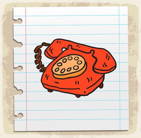 spiral binding: Cartoon old phone illustration