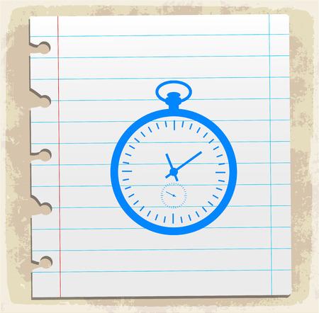 scribbling: watch illustration, paper sheet note