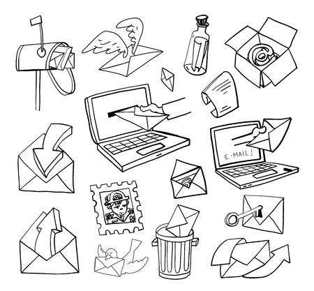 telegrama: Conjunto de diferentes caricaturas de correo