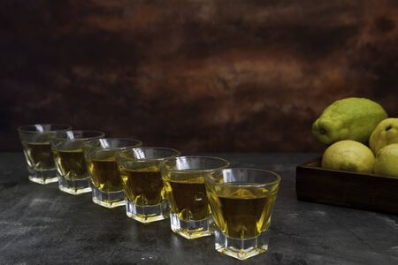 six tequila shots lined up with lemon basquet on brown fantasy background s Foto de archivo