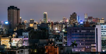 Taichung, Taiwan. 31-May-2018. Taichung skyline during the night from a rooftop Editorial