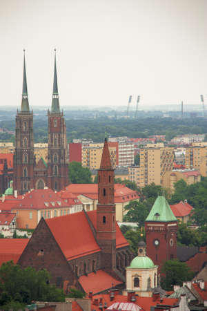 stunning landscape of the city of Wroclaw in Poland, General view of the city of torre Maria Magdalena Church.