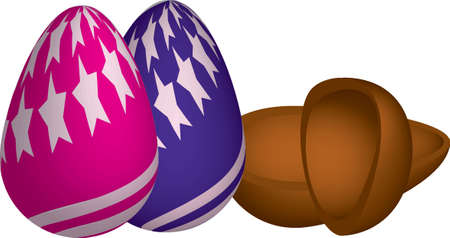 chocolate mousse: two chocolate eggs, one with stars and stripes pink roses with blue stars and other blue stripes and two pieces of chocolate