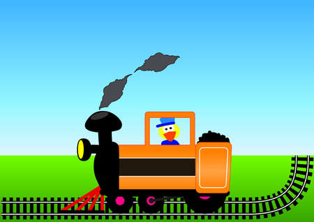 machinist: Locomotive with machinist, pouring smoke, the line on the grass with blue sky,