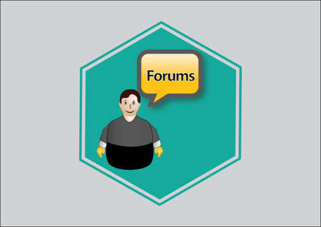 Icon blue, forum the web, person with Vector