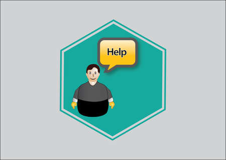 Icon blue, help the web, person with Vector