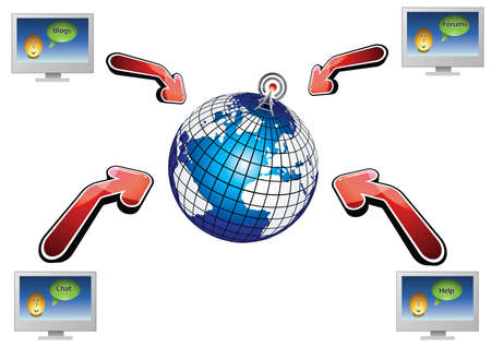 Worldwide network of Internet communications Vector